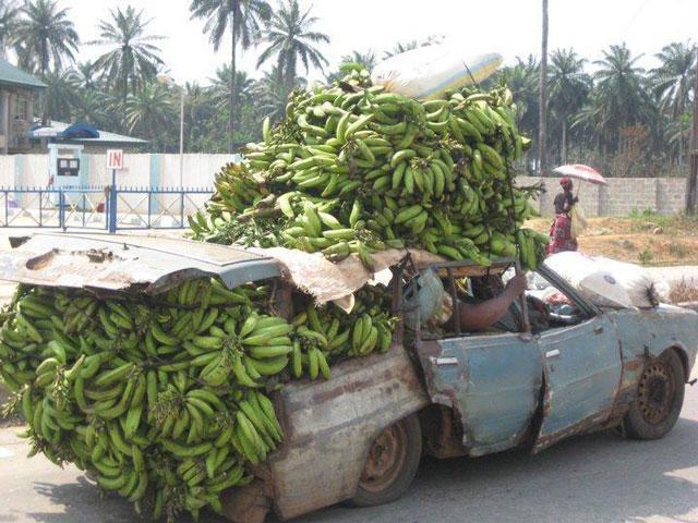 trasporto di banane sull'auto