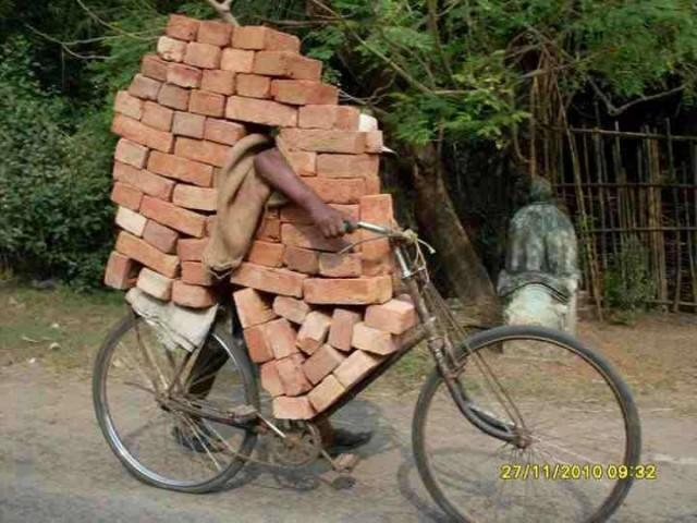 trasporto incredibile su una bicicletta