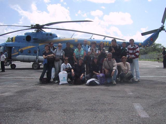 Alfredo Schincaglia in elicottero in Nepal